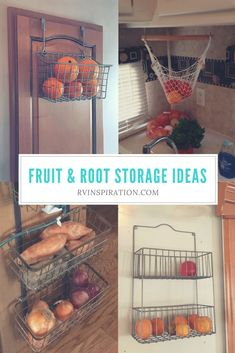Ideas For Storing Fruit Vegetables In Your Rv Store Fruit Vegetables Amp Produce In The Kitchen Of A Camper Motorhome Travel Trailer Tiny Home Or Small Apartment With One Of These Space Saving Ideas Camping Storage, Rv Storage, Small Storage, Food Storage, Storage Ideas, Rv Camping, Camping Hacks, Trailer Storage, Storage Solutions