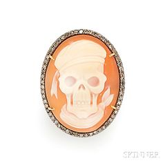 Shell Cameo and Diamond Ring | Sale Number 2826B, Lot Number 224 | Skinner Auctioneers