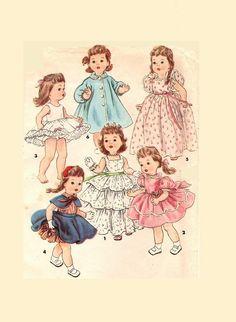 "Vtg Doll Clothes Dress Pattern ~ 18/"" 19/"" 20/"" Saucy Walker Tiny Tears Dy Dee"