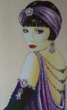 Art Deco Flapper Lady in Purple Dress - Cross Stitch