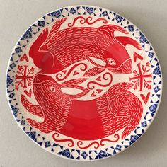 'Russian Rabbits' plate by Vicky Lindo & Bill Brookes