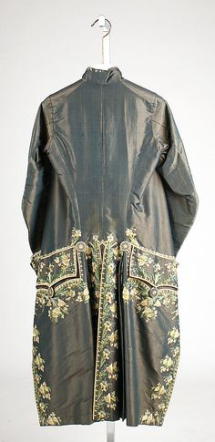 Court coat, France, third quarter 18th century. Blue silk, embroidered with naturalistic flowers in coloured silk.