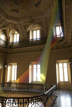 Gabriel Dawe, Plexus, Epistrophy, Colorful Fabric Installation, Villa Olmo in Como, Staircase Installation Above with Windows, Plexus No.19