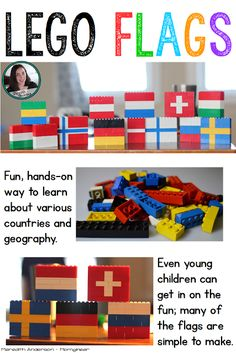 Flag Fun with LEGOs! Flag Fun with LEGOs! Hands-on geography LEGO build that is great fun while the Olympics are taking place (but can be done any time you are studying flags of the world or counties). Geography Activities, Lego Activities, Teaching Geography, World Geography, Continents Activities, Culture Activities, Diversity Activities, Geography For Kids, My Father's World