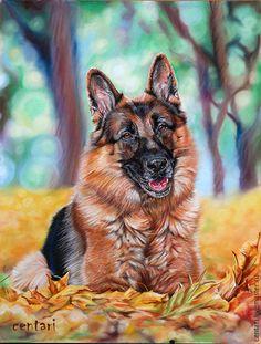 Купить Мажимо Игл - рыжий, осень, Немецкая овчарка, листва, портрет, пастель, Пастельная бумага
