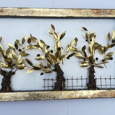 An olive tree, suitable for home or firm decoration, of whistles bronze handmade leaves and ceramic olives, on marble base. Wooden Frames, Grid, Diy And Crafts, Wall Art, Blog, Handmade, Design, Decor, Wood Frames