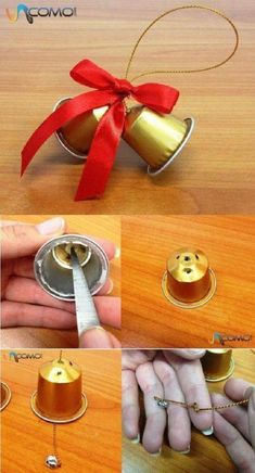 How to make Christmas bells with Nespresso capsules - Basteln - noel K Cup Crafts, Christmas Crafts, Christmas Bells, Christmas Art, Christmas Ornament, Christmas Activities, Christmas Projects, Diy For Kids, Crafts For Kids