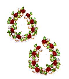 PAIR OF 18 KARAT GOLD, RUBY, TSAVORITE GARNET AND DIAMOND EARRINGS, ALEXANDER LAUT Estimate 8,000 — 12,000 USD