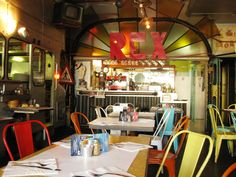 Creperie Bretonne Annaíck may as well be the precursor of the up and coming 'bus replica' trend. Bistros, Restaurants, Neon Signs, Design, Restaurant