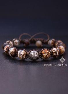 Desert View, Men's Brown Agate Shamballa Bracelet, Natural Stone, Tibetan Beaded Bracelet, Brown Macrame, Crux Crystals, Father's Day Gift