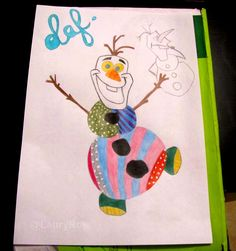 Drawing by me @LauryRow  Olaf - La Reine des Neiges - version Britto #britto #romerobritto  Like my page here :: https://www.facebook.com/merveillesdetentesdelaury?fref=ts