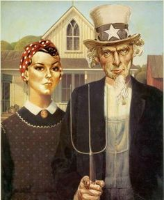 Grant Wood American Gothic Art Parody Painting. Rosie the Riveter Uncle Sam We Can Do It