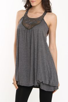 Tunic Tank In Charcoal Heather Gray
