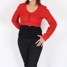 Shout out in this unmissable bright red fitted shrug complete with a red frontal buckle and metal zipper