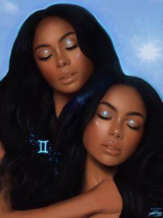 Gemini by Zaid Dibis Black Love Art, Black Girl Art, Black Girl Magic, Gemini Art, Gemini Woman, Black Cartoon, Girl Cartoon, Equestria Girls, Gemini Wallpaper