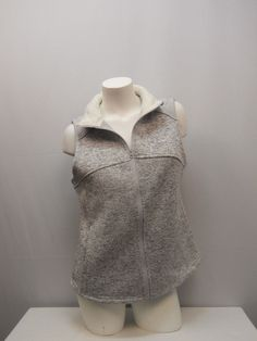 SIZE L Womens Sweater Vest FADED GLORY Silver Faux Sherpa Fur Collar Sleeveless #FadedGlory