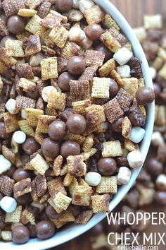 1 box Chocolate Chex 1 box Vanilla Chex 2 bags chocolate chips (we recommend not using Nestle. They have horrible ethics! Seriously.) 1 bag mini marshmallows 1 large container of Whoppers 1 stick butter 1 cup malted milk