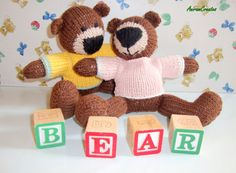 Hand knitted baby's first teddy bear soft toy  2 by AniramCreates, £15.99
