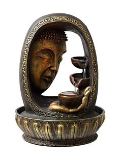 Tiered Golden Buddha Face & Hand 12 Inch Lighted Tabletop Fountain Tabletop Water Fountain, Indoor Water Fountains, Small Fountains, Indoor Fountain, Indoor Waterfall Wall, Golden Buddha, Buddha Face, Fountain Design, Zen