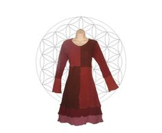 Organic cotton and hemp patchwork dress  Handmade by MysterySchool