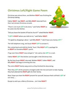 Printable Left/Right Christmas Game Poem
