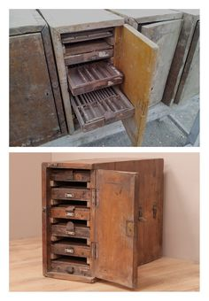 Antique printer's cabinet. These only needed to be washed, sanded and waxed to bring the teak back to life