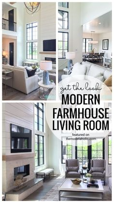 Mix black, white, grays and metallics to create the perfect blend of modern farmhouse. Then use these elements to create the perfect modern farmhouse living room with our get this look idea and where to find similar pieces for your home featured on Remodelaholic.com
