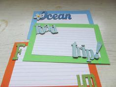Beach Vacation Journal Spot Note Cards Orange Green by KraftieKidz, $3.50