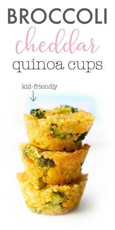 a new way to try out quinoa? These broccoli cheddar quinoa cups are a cute, kid-friendly and healthy snack, appetizer or side that the whole family will love! A great recipe for lunch boxes, finger food for toddlers and baby-led weaning! Lunch Recipes, Baby Food Recipes, Cooking Recipes, Baby Fingerfood Recipes, Healthy Recipes For Toddlers, Healthy Toddler Food, Toddler Recipes Healthy, Healthy Kid Meals, Food For Toddlers
