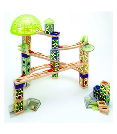 Hape Toys Space City - Experience the stellar power of a Quadrilla deep space marble run! Launch your marbles through cosmi Toddler Toys, Kids Toys, Wooden Marble Run, Marble Runs, Hape Toys, Space City, Educational Toys For Kids, Learning Toys, Wood