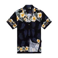 Men Hawaiian Aloha Shirt in Black with Cross Floral