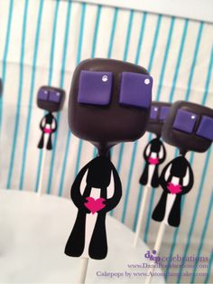 Ender cake pops at a Minecraft Party #minecraft #partyfood