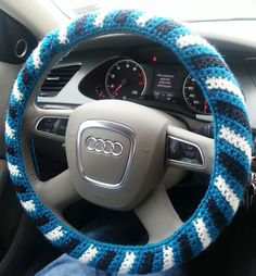 Crochet Steering Wheel Cover, Steering Wheel Cozy, Car Accessory, Philadelphia Eagles colors. $15.00, via Etsy.