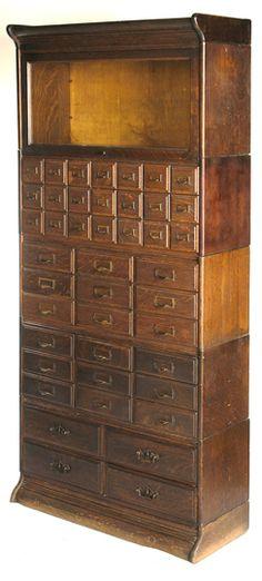 Oak 5 stack bookcase/filer
