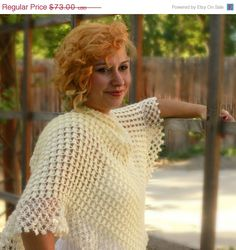 Autumn Sale Cream Shawl Crochet Shawl Wedding by Ebruliaccessories, $51.10