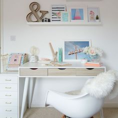Do your homework on bedroom design Want teenage girls bedroom ideas? Coming up with teenage girls bedroom ideas is no easy feat for a parent. Teenage Girl Bedroom Designs, Teenage Girl Bedrooms, Small Teen Bedrooms, Teenage Girl Room Decor, White Desk For Teenage Girl, Desks For Girls, Desk Decor Teen, Teen Bed Room Ideas, Bedroom Ideas For Small Rooms For Girls