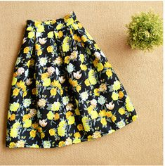 BEFORW Brand High Waist Pleated Midi Skirt 4 Color Women Floral Print Long Skirts Winter Skirts Faldas largas Saia feminina Oh just take a look at this! Get it here