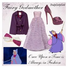 """Disney Style: Fairy Godmother"" by trulygirlygirl ❤ liked on Polyvore featuring Cuteberry, Disney, Milly, LUISA BECCARIA, Christian Louboutin, cinderella, fairy godmother and disney"