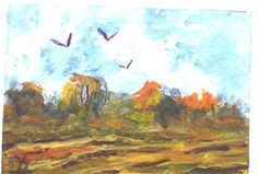ACEO  Three Crows  landscape painting by Jim by jimsmeltzgallery, $20.00