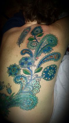 Paisley back tattoo by Carrie Black Des Moines, Iowa