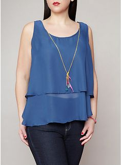 Plus-Size Tiered Tank With Necklace