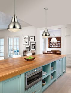 Kitchen Remodel Ideas - Browse our kitchen renovation gallery with traditional to modern to beachy kitchen design inspiration. Rustic Kitchen Lighting, Kitchen Lighting Design, Rustic Kitchen Island, Kitchen Island Lighting, Kitchen Lighting Fixtures, Kitchen Islands, Light Fixtures, Layout Design, Küchen Design