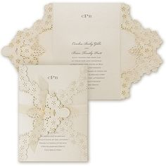 Elegant Floral Lace - Invitation - This invitation features your wording on a latte shimmer card tucked in a die-cut, latte shimmer wrap and secured with an ecru, chiffon ribbon. Monogram Wedding Invitations, Laser Cut Invitation, Laser Cut Wedding Invitations, Beautiful Wedding Invitations, Diy Invitations, Wedding Invitation Wording, Floral Invitation, Elegant Wedding Invitations, Wedding Stationery
