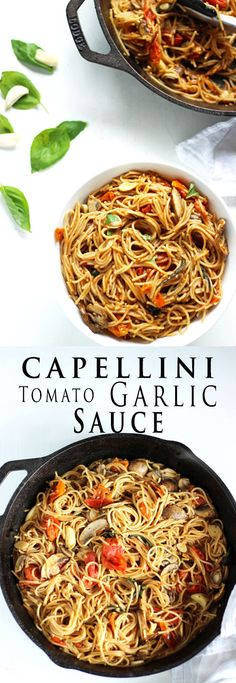 Delicious Whole Grain Capellini Pasta in a roasted tomato and garlic sauce. So yum and a perfect light pasta dish for summer!