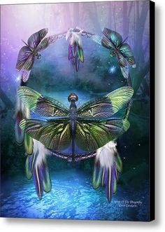 Dream Catcher - Spirit Of The Dragonfly Canvas Print / Canvas Art By Carol Cavalaris