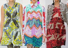 Louise Gray S/S 2013-Destructed pattern – News print prints – Punk attitude – Cut and paste pattern – Vibrant and powerful colour plays – Overprinted effects