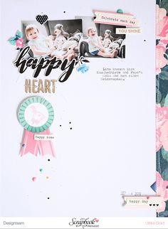 Layout *Happy Heart* - Scrapbook Werkstatt März Kit 2017 *Flügelschlag* - von Ulrike Dold