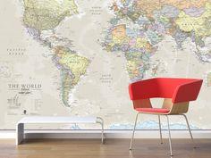 Huge Classic World Map Vintage Elegant Home Decor Home - Huge classic world map