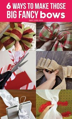 6 Ways to Make those Big Fancy Bows. Easy DIY bows for the holidays or anytime of the year. DIY Ideas, Easy DIY #DIYChristmas #HandmadeChristmas #HomemadeChristmasIdea #HomemadeChristmasDecor #DIYChristmasGift