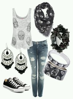 New Style Rock Chic Rocker Chick Casual Ideas Skull Fashion, Punk Fashion, Gothic Fashion, Fashion Outfits, Womens Fashion, Lolita Fashion, Fashion Boots, Fashion Clothes, Fashion Tips
